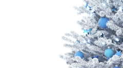 New Year tree isolated on white background. Alpha Matte. Stock Footage