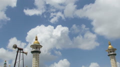 Hyper lapse of the moving clouds with minaret of the mosque as a still object Stock Footage