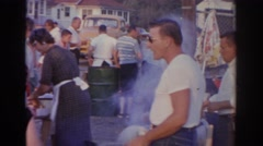 1963: family enjoying a cookout. NEW JERSEY Stock Footage