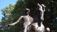 The Paul Revere statue, Paul Revere Mall, Boston, MA. Stock Footage