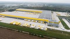 Aerial view of DHL/Deutsche Post distribution hub Obertshausen Stock Footage