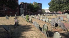 Headstones in Copp's Hill Burying Ground, Boston, MA. Stock Footage