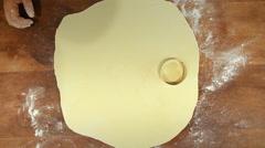 Shish Barak with Yoghurt Recipe Flatten dough cut out, to shape Stock Footage