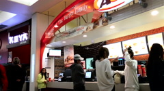 People ordering foods inside A&W restaurant Stock Footage
