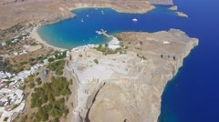 Lindos Acropolis - Aerial footage of the Acropolis Stock Footage