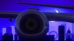 Geneva Switzerland Airplane Take Off Moon Night Blue Skyline Travel Stock Footage