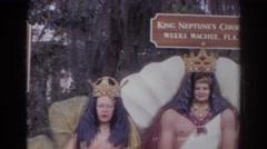 1966: people in beautiful costumes posing signboards NORFOLK VIRGINIA Stock Footage