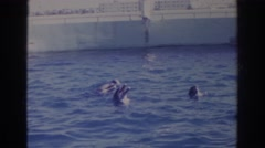 1966: dolphins playing in the pool. NORFOLK VIRGINIA Stock Footage
