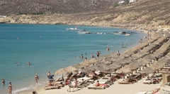 Close up pan of the popular elia beach on the greek island of mykonos Stock Footage