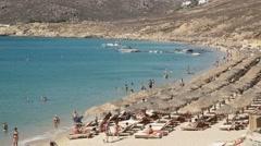 Close up pan of the popular elia beach on the greek island of mykonos Stock Footage