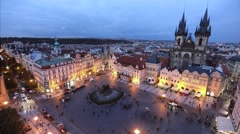 Panorama of Old Town square in the evening, Prague Stock Footage