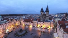 Old Town square in the evening, Prague Stock Footage