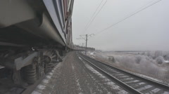 The movement of the train in the winter on the highway Stock Footage