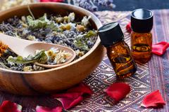 Essential oils for aromatherapy treatment Stock Photos
