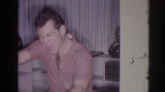 1966: a man happily plays the bongos TEMPLE CITY CALIFORNIA Stock Footage