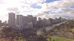 Aeral Waikiki downtown Ala Wai Canal Stock Footage