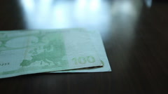 Cash counting, 100 Euro banknotes close-up Stock Footage