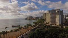 Aeral Waikiki downtown Kuhio Beach Stock Footage