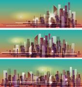 Vector banner night cityscape. Stock Illustration
