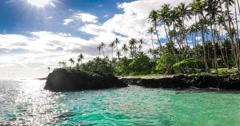 Tropical volcanic beach on Samoa Island with palm trees Stock Footage