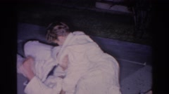 1966: child pins dad in a wrestling match EL MONTE CALIFORNIA Stock Footage