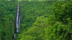 Vibrant and tall Papapapaitai falls on Upolu island, Samoa Stock Footage