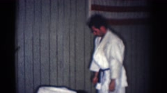 1966: judo wrestling karate style american flag background SAN GABRIEL Stock Footage