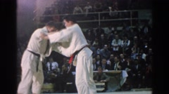 1966: black belt and red belt compete at martial arts competition SAN GABRIEL Stock Footage