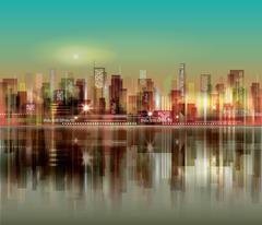 Abstract night background with silhouette of city Stock Illustration