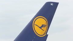 Lufthansa Airbus A380 airplane wing Stock Footage