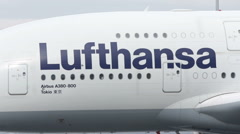 Lufthansa Airbus A380 airplane workers Stock Footage
