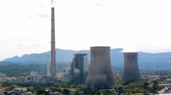 Smoke Pollution From Power Plant Smokestacks Stock Footage