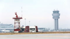 Airport control tower and radar communication tower Stock Footage