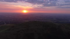 Aerial view of the Malvern Hills at sunrise. Stock Footage