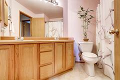 Bathroom interior with light pink walls and double sink vanity, large mirror  Stock Photos