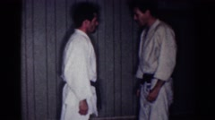 1967: personal defense class with specially jiu-jitsu solid arts  Stock Footage