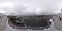 Aerial 360 video Streets, canals, bridges, boats in Amsterdam, Holland Stock Footage