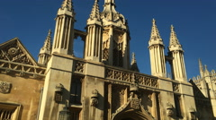 King's College gate tower and chapel. Stock Footage