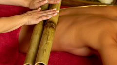 Close up of woman have bamboo sticks therapy massage. Stock Footage