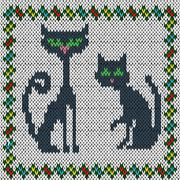 Knitting fabric pattern with two grey cats Stock Illustration