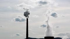 Power Plant Smokestacks Smoking, Heavy White Smoke on the Sky Stock Footage