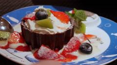Spoon Eating Dessert Stock Footage