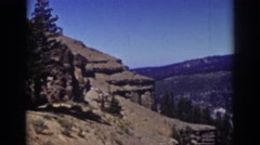1939: a rocky cliff in the mountains at daytime LAKE TAHOE CALIFORNIA Stock Footage