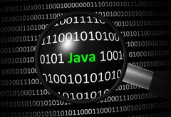 Binary code with Java and magnifying lens on black background Stock Illustration