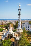 Park Guell by architect Antoni Gaudi, Barcelona, Spain Stock Photos