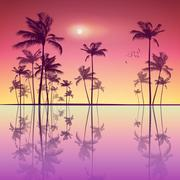 Landscape of tropical palm trees  at sunset or moonlight, with r Stock Illustration