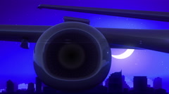 Jersey City New Jersey USA America Airplane Take Off Moon Night Blue Skyline Stock Footage