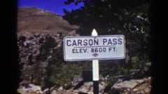 1939: view carson pass mountain top summit sign elevation 8600 ft LAKE TAHOE Stock Footage