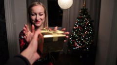 Excited happy woman holding Christmas gift box Stock Footage