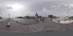 360 video Streets, canals, bridges, buildings, boats in Hoorn, Holland Stock Footage